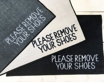 Welcome please remove your shoes plaque Grey.