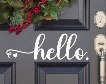 Cursive Hello Heart Vinyl Decal - Hello Vinyl Sticker - Hello Door Decal - Hello Car Decal - Hello Mailbox - Hello Door Sticker - Front Door