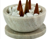 Galaxy Marble Resin Charcoal Incense Burner Censer Smudge Bowl w Coaster 4 quot -1.5