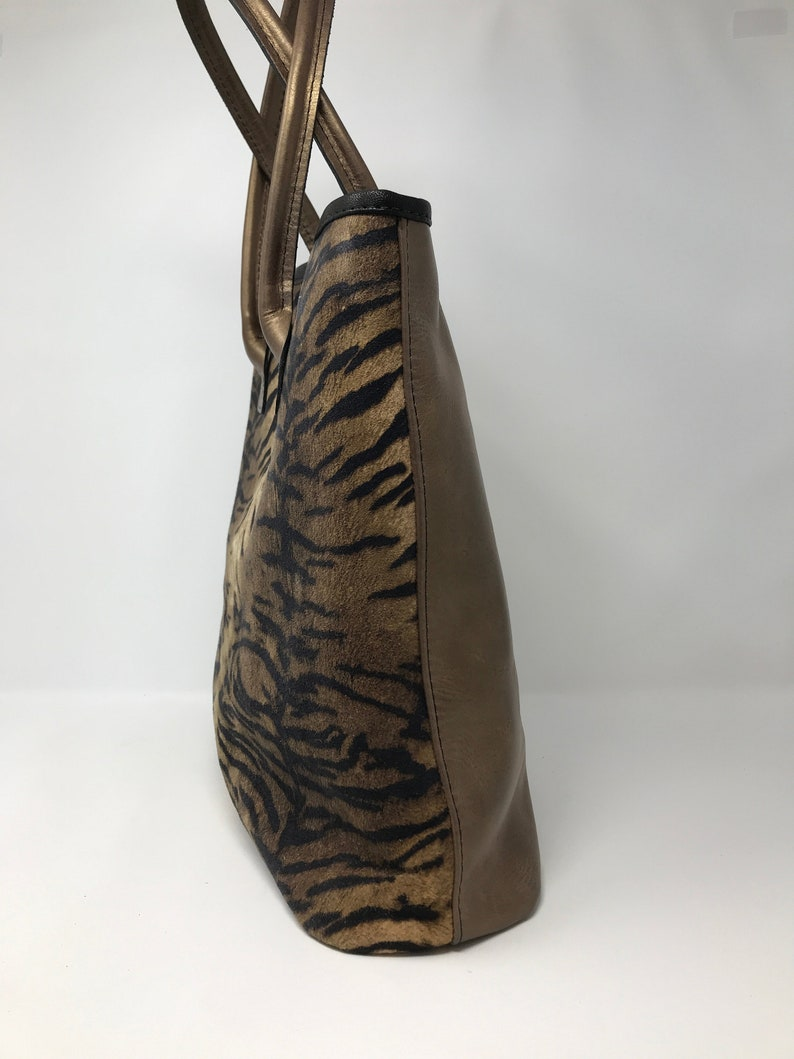 Brown and Copper Animal Printed Leather Tote Bag