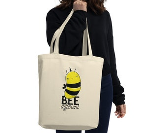 Bee Different Cute Quote Motivational Gift Graphic Eco Tote Bag Design