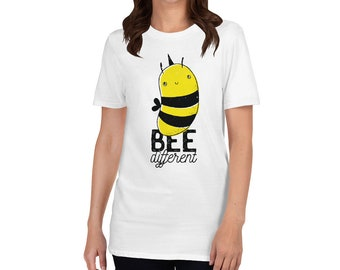 Bee Different Cute Quote Motivational Gift Graphic Design Short-Sleeve Unisex T-Shirt