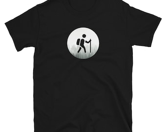 BACKPACKER ICON (Hiker/Camper With Forest Background): Mens/Unisex Premium Fitted T-Shirt