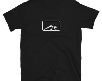 MOUNTAIN AND OCEAN (Minimalist Silhouette): Mens/Unisex Premium Fitted T-Shirt
