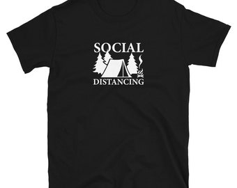 SOCIAL DISTANCING (Camping): Mens/Unisex Premium Fitted T-Shirt