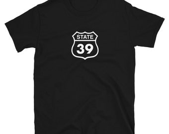 ROUTE 39 (US Highway Sixty Six): Mens/Unisex Premium Fitted T-Shirt