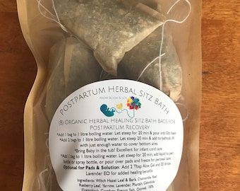 8 Postpartum Herbal Healing Sitz Bath, Perineum Soak. Cord healing & Padsicle Solution. W/ Witch hazel, Lavender, Red Rasberry Leaf, Salts.