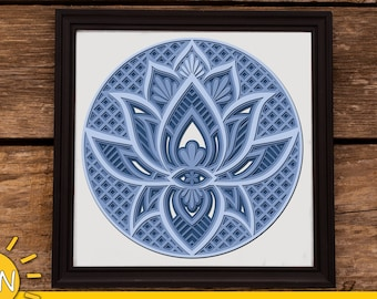 3D Layered Lotus Mandala SVG 4 layers   3D layered DXF laser cut   Glowforge SVG   Commercial use Glowforge   Cricut   Silhouette