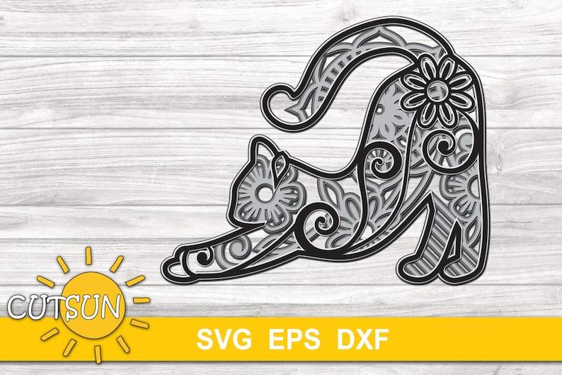 Download 3D Layered Mandala Cat SVG 5 layers cut file | Etsy