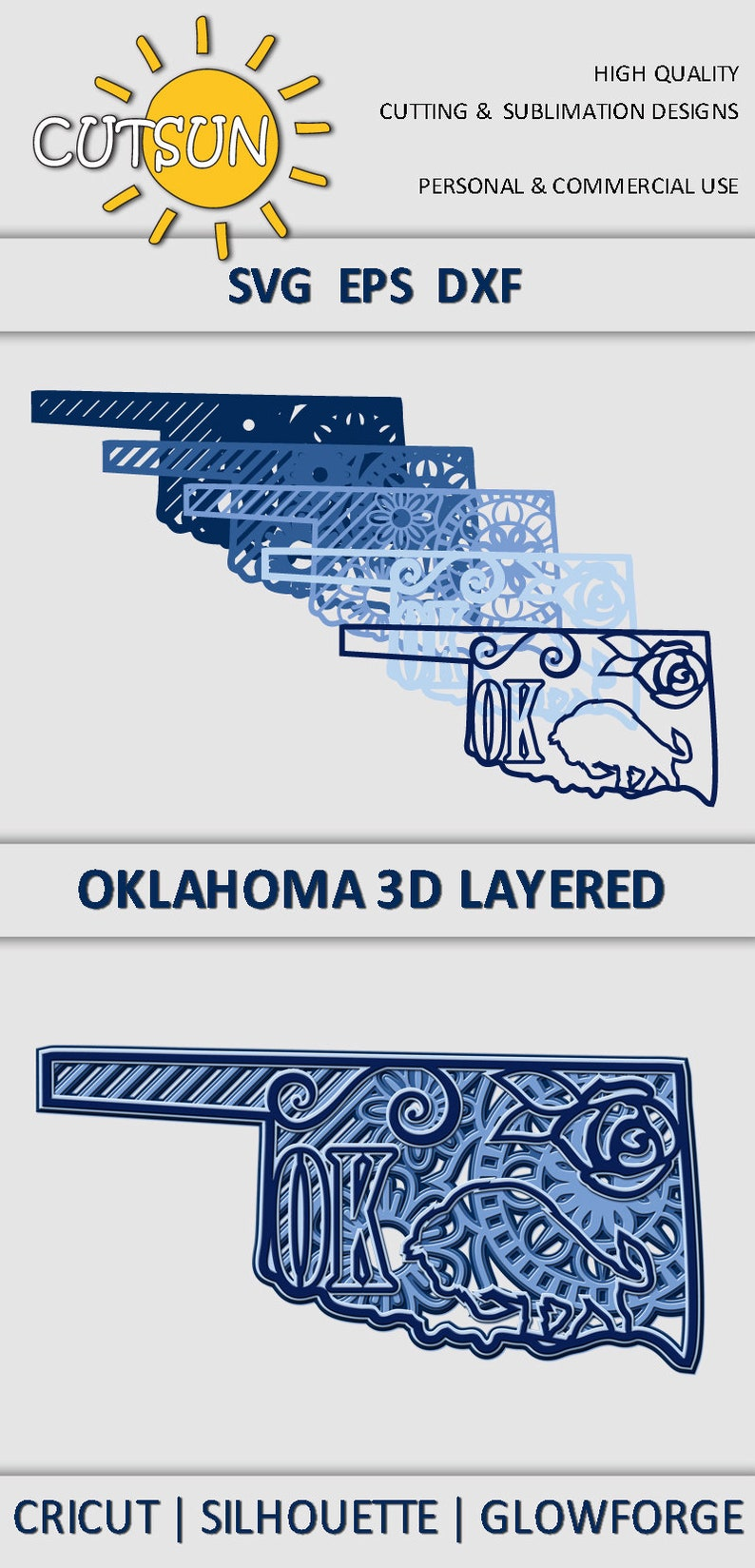 Commercial use Glowforge Layered 3D Mandala Oklahoma state SVG 5 layers Silhouette 3D layered DXF laser cut Glowforge SVG Cricut
