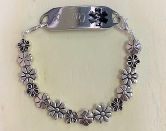 Silver Daisy Mix Medical ID/Interchangeable Bracelet/Medical Tag NOT INCLUDED