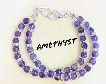 Double Strand Amethyst  Medical ID Bracelet/Medical Tag NOT INCLUDED
