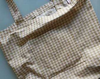 Handmade Tote Bag Made in Newfoundland! Gold Houndstooth
