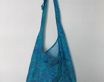 Handmade Crossbody Sling Bag with Adjustable Tied Strap Made in Newfoundland! Inky Teal Swirls