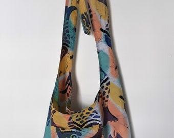 Handmade Crossbody Sling Bag with Adjustable Tied Strap Made in Newfoundland! Batik Fish