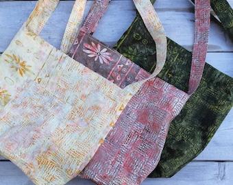 Handmade Batik Shoulder Tote Bag with Adjustable Strap Made in Newfoundland!