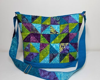 Handmade Patchwork Quilted Crossbody Bag with Adjustable Strap in Purple Green and Teal Batiks Made in Newfoundland!