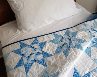 Handmade in Newfoundland! Starry Dragonflies Patchwork Quilt Double/Twin/Throw Size
