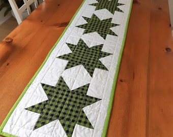 Plaid Patchwork Stars Table Runner Handmade in Newfoundland! Quilted Table Topper