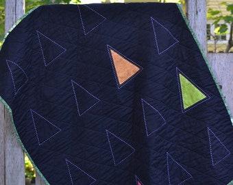 Handmade in Newfoundland!  Modern Sashiko Trees Crib Baby Quilt Wall Hanging
