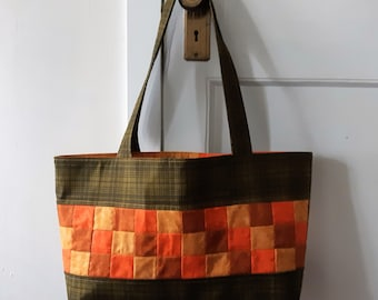 Large Handmade Patchwork Fall Colours Market Tote Made in Newfoundland!