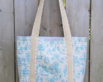 Handmade Country Toile Market Tote Made in Newfoundland!