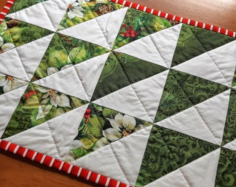 Poinsettia Patchwork Table Runner Handmade in Newfoundland! Quilted Table Topper