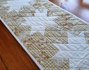Patchwork Stars Table Runner Shimmering Golds Handmade in Newfoundland! Quilted Table Topper
