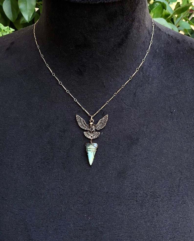 Unique Eagle Gemstone Necklace Stone Eagle Necklace Crystal Necklace Labradorite Necklace For Women Green Flash Labradorite Necklace