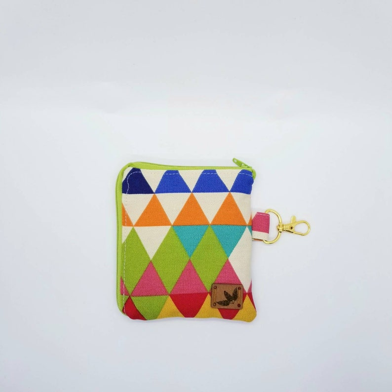 Unique Stocking Stuffers Colorful Triangle Zipper Pouch Keychain