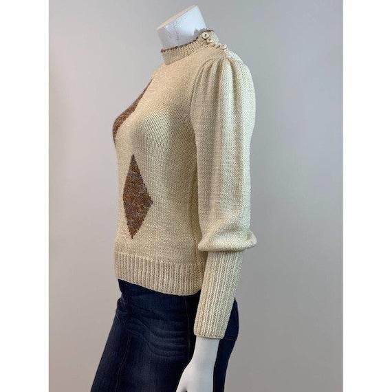 Vintage Diamond Puff Sleeve Sweater - image 7