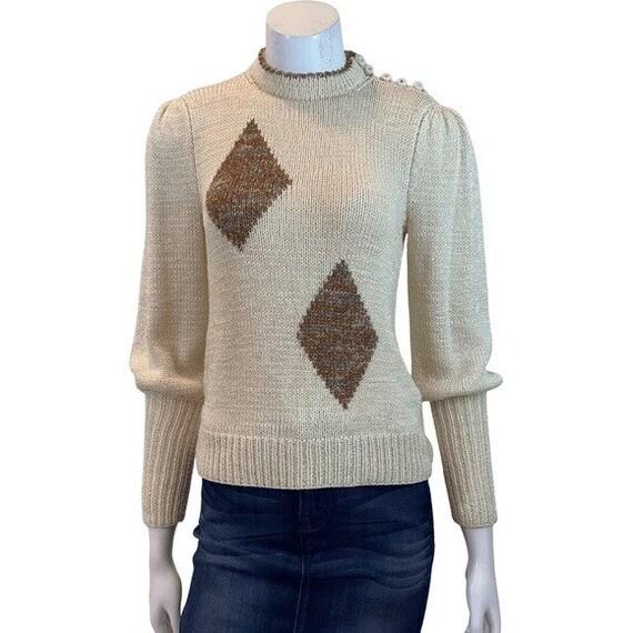 Vintage Diamond Puff Sleeve Sweater - image 4