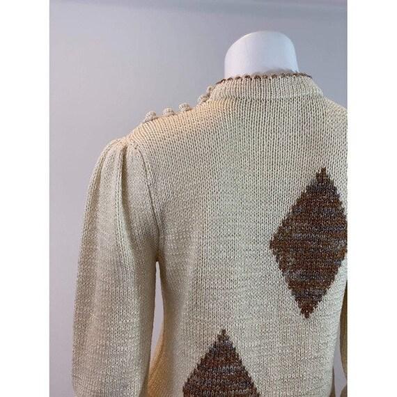 Vintage Diamond Puff Sleeve Sweater - image 8