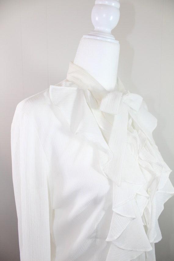 Vintage White Ruffle Blouse