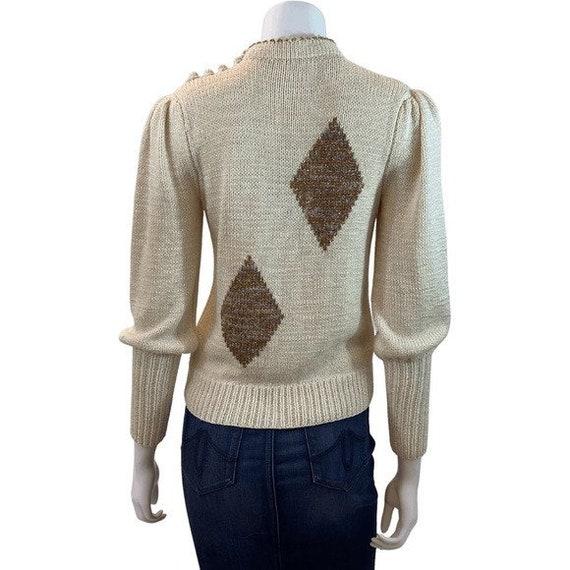 Vintage Diamond Puff Sleeve Sweater - image 5