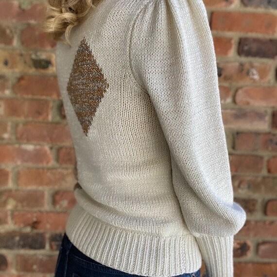Vintage Diamond Puff Sleeve Sweater - image 2