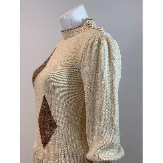 Vintage Diamond Puff Sleeve Sweater - image 9