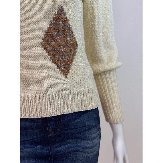 Vintage Diamond Puff Sleeve Sweater - image 6