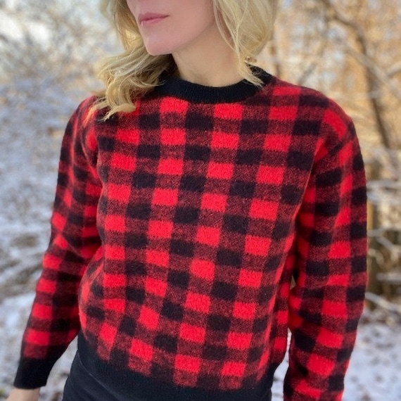 Vintage Buffalo Check Red /& Black Wool Unlined Coat 70/'s est Med Warm Possibly Earlier Classic Unisex Style Outdoor Sporting