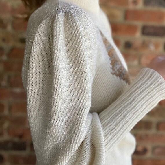 Vintage Diamond Puff Sleeve Sweater - image 3