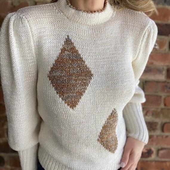 Vintage Diamond Puff Sleeve Sweater - image 1