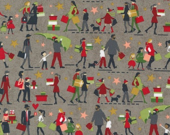 Hustle and Bustle Gift Giving People Multiracial - Tinsel - 1/4 yard