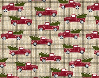 Jingle Bell Christmas - Red Truck Holiday Beige- 1/4 yard