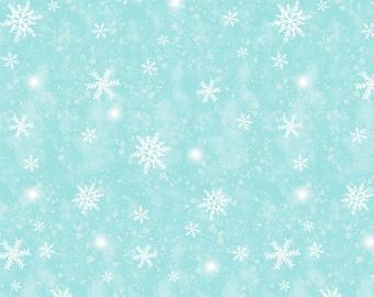 Snow Day Snowstorm - Ice Blue - 1/4 yard