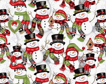 Snow Place Like Home Stacked Snowmen - 1/4 yard