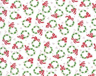 Merry Bright Wreaths - Winter White - 1/4 yard