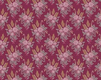 Whimsical Romance - Stipple Raspberry - 1/4 yard