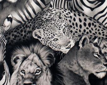 Lion Eyes - Black - 1/4 yard