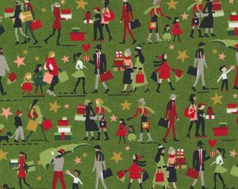 Hustle and Bustle Gift Giving People Multiracial - Pine - 1/4 yard