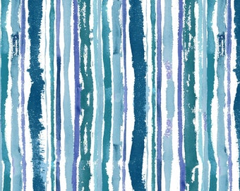 CLEARANCE!!! Midnight Sapphire - Watercolor Stripe 1/4 yard